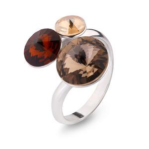Feichtinger - Spark Ring 925/-Silber, Swarovski braun, offen nrunde Teile-6, 8 und 11 mm