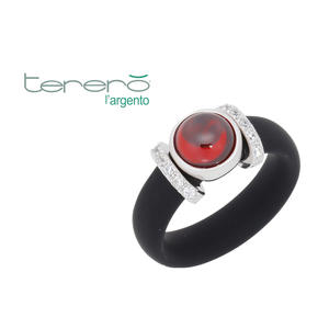 Feichtinger - Ring 925/-Silber rhodiniert, Kautschuk schwarz, Zirkonia, nsynthetischer roter Stein