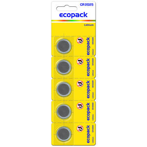 Varta ECOPACK CR2025 Lithium 3V Knopfzellen 5-Pack