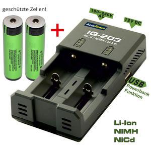 AccuPower IQ-203 Ladegerät inkl. 2x Panasonic NCR18650B PCB geschützt