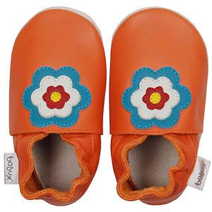 Flower Power Baby Krabbelschuhe, orange