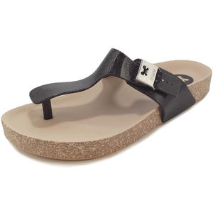 Fashion Flat Thong Damen Zehenstegsandale, schwarz/beige (black/glitter)