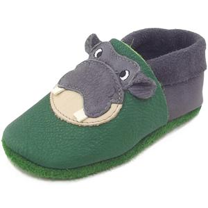 Hippo Kleinkinder Krabbelschuhe, grün/grau (graphit tabaluga)
