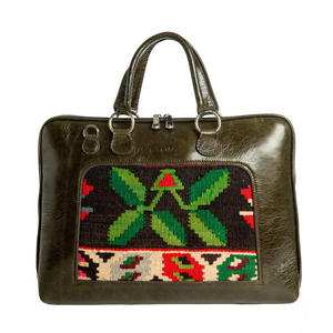 Buenos Aires Unisex Business Bag, Olive Green/Kilim