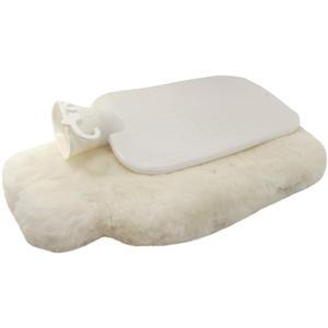 Wärmeflasche mit Lammfellhülle, beige, klein