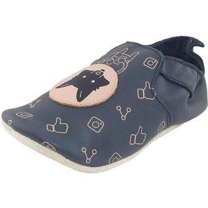 Fox Loafer Print Baby Krabbelschuhe, navy/beige