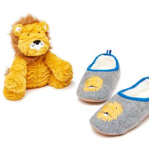 Hausschuh und Stofftier Kinder Geschenkset, Grey Lion