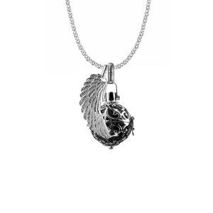 Engelsrufer Schmuck Set Silber, Kette 50 cm, Korb S, Flügel S, Kugel Farbe Schwarz