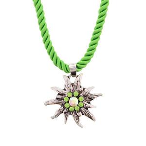 Trachtenschmuck, Edelweiß Halskette Hellgrün