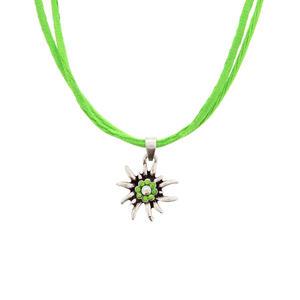Trachtenschmuck Edelweiß Halskette Hellgrün