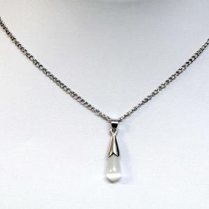 Damen Halskette mit Tropfen Weiß
