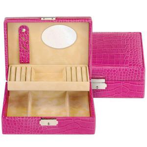 Sacher Schmuckkoffer Schmuckkasten BRITTA Leder pink abschließbar mit Schloss