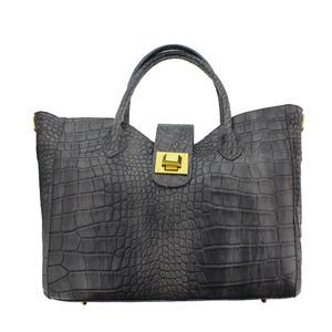 Made in Italy Damen Handtasche Leder Schwarz Riccione Grigio 201309256