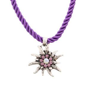 Trachtenschmuck, Edelweiß Halskette Lila