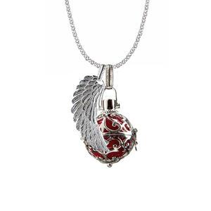 Engelsrufer Schmuck Set Silber, Kette 90 cm, Korb M, Flügel M, Kugel Farbe Rot