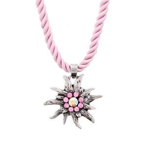 Trachtenscmuck Edelweiß Halskette Rosa