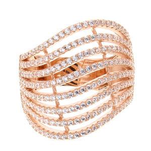 Belamonda Damen Ring Rosé 925 Sterling Silber mit Zirkonia