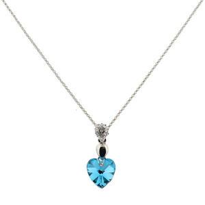 Damen Herz Kette mit Kristall in Türkis
