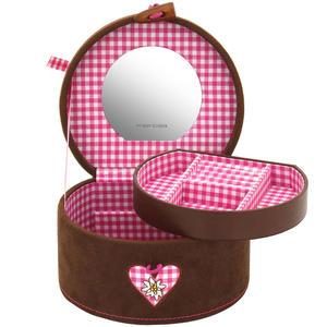 Friedrich Lederwaren Schmuckkoffer Schmuckkasten BAVARIA braun rosa rund Spiegel