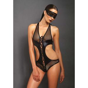 Body mit offenem Schritt und passender Augenbinde in Schwarz S/M