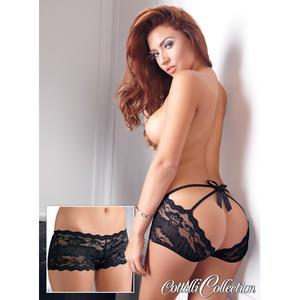 Schwarze Spitzen-Panties M
