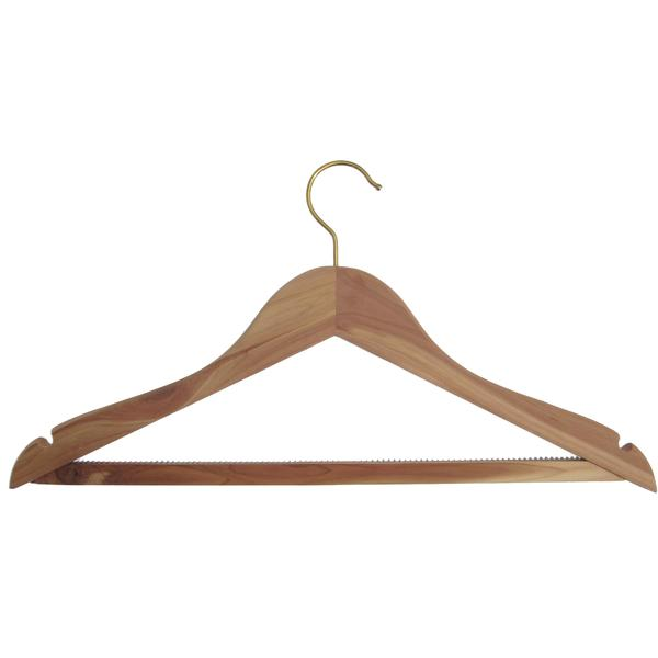 5 Stk. Hagspiel Kleiderbügel aus Holz, Zeder, Zedernkleiderbügel mit Steg und Kerben