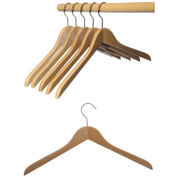 12 St. Hagspiel Kleiderbügel aus Holz, Buche, Deltabügel aus Buchenholz, natur lackiert (Wasserlack), vernickelter drehbarer Metallhaken, Made in Austria (Qualitätskleiderbügel)