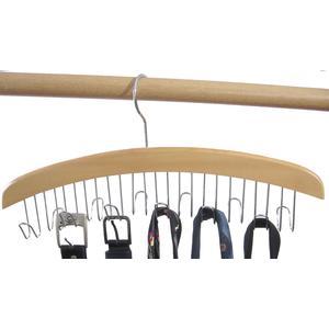 1 Stk. Hagspiel Kleiderbügel aus Holz, Buche, Gürtelhalter aus Buchenholz für 12 Krawatten oder Gürtel