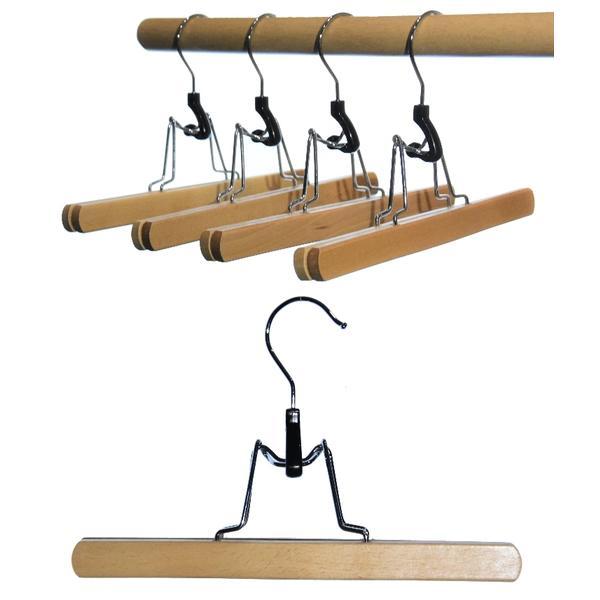 16 St. Hagspiel Kleiderbügel aus Holz, Buche, Hosenspanner aus Buchenholz, natur lackiert, 25 cm, Made in EU (Qualitätskleiderbügel)