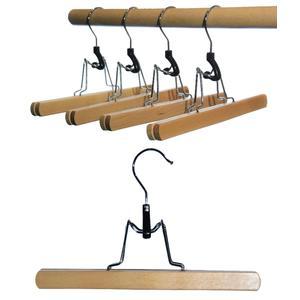 8 St. Hagspiel Kleiderbügel aus Holz, Buche, Hosenspanner aus Buchenholz, natur lackiert, 25 cm, Made in EU (Qualitätskleiderbügel)