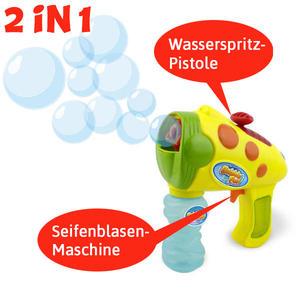 Bubble Gun 2 in 1, Seifenblasen und Wasserspritz-Pistole