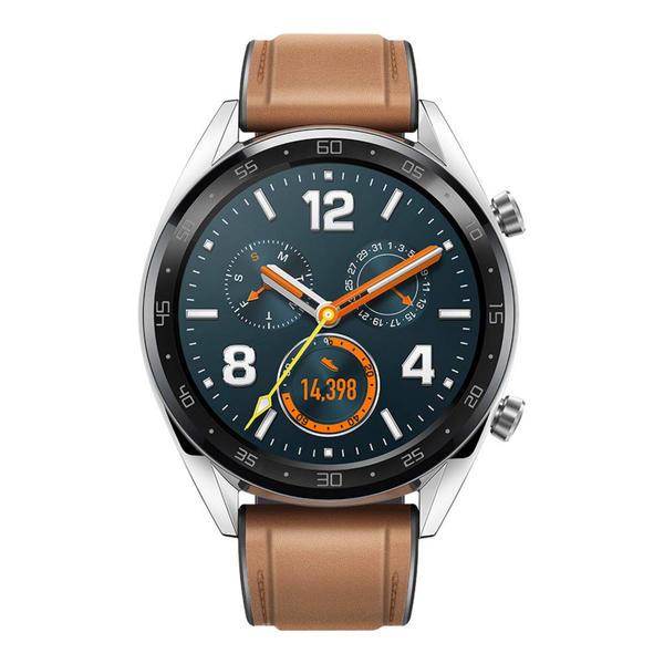 Huawei Watch GT Classic silber mit Lederarmband braun