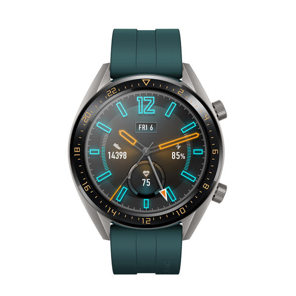 Huawei Watch GT grau mit Silikonarmband grün