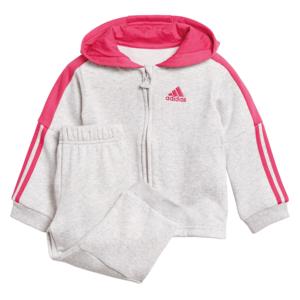 adidas Kinder Trainingsanzug Logo Full Zip Hooded Jogger hellgrau/rosa