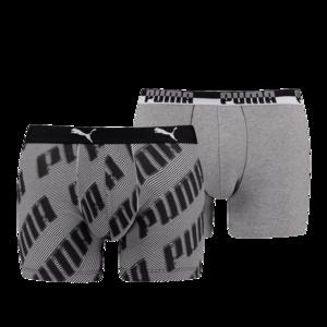 Puma Basic Boxer 2er Pack AOP WOR grau/schwarz