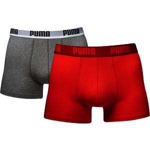 Puma Basic Boxer 2er Pack grau/rot