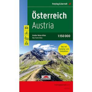 Österreich, Autoatlas 1:150.000, Großer Reise-Atlas mit Camping- und Stellplätzen