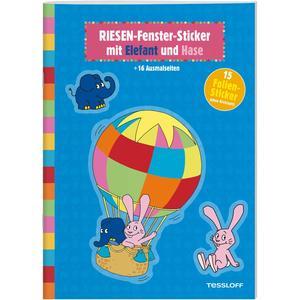 RIESEN-Fenster-Sticker mit Elefant und Hase