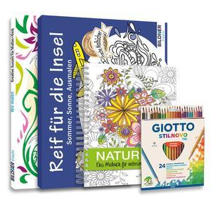 Mein Kreativ-Set: 3 liebevoll gestaltete Malbücher mit 24 hochwertigen Farbstiften