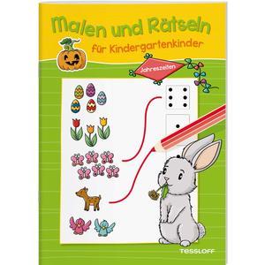 Malen und Rätseln für Kindergartenkinder. Jahreszeiten. Suchen, Zählen, Zuordnen, Verbinden für Kinder ab 3 Jahren