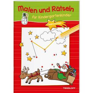 Malen und Rätseln für Kindergartenkinder. Weihnachten.