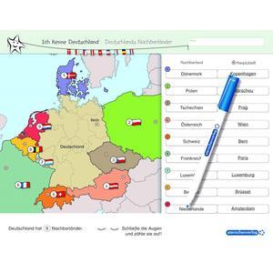 Ich kenne Deutschland - Deutschlands Nachbarländer - Lerntafel mit Stift
