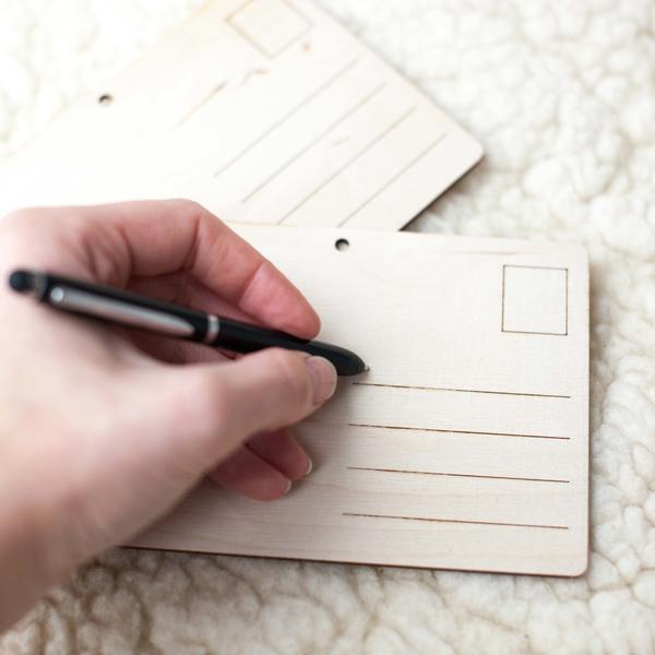 Holz-Postkarte Blanko [kreativ gestalten, innovativ, besonders, natürlich]