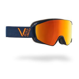 Damen/Herren Skibrille - Modell: SCHLADMING | Farbe: Navy/Orange / Scheibe: Orange | Größe: M