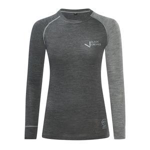 Damen Langarmshirt aus Merino Wolle | Funktionsunterwäsche I Base Layer | Farbe: Anthrazit/Grau | Größe: 36