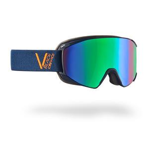 Damen/Herren Skibrille - Modell: SCHLADMING | Farbe: Navy/Orange / Scheibe: Grün | Größe: M