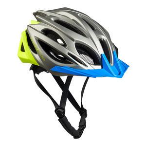 Damen/Herren MTB- & Fahrradhelm - RTF Verstellsystem | Farbe: Silber/Gelb/Blau | Größe: S/M (54-58 cm)