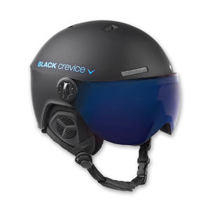 Ski-/Snowboardhelm mit Visier - GSTAAD - Material: PC/EPS | Farbe: Black/Blue | Größe: XS (51-53 cm)