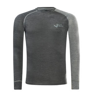 Herren Langarmshirt aus Merino Wolle | Funktionsunterwäsche I Base Layer | Farbe: Anthrazit/Grau | Größe: S