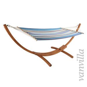 vanvilla Hängemattengestell LaGarde / Matte Blau gestreift / Holz Teak